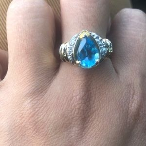 14k gold with Blue topaz and diamond